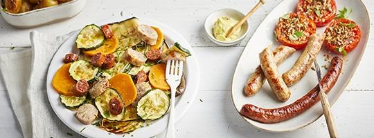 Saucisse et merguez avec ses patates douces et légumes grillés