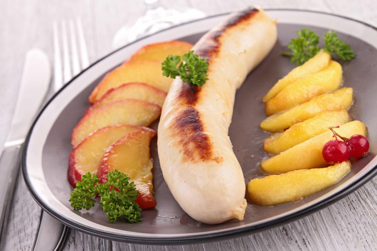 Piques de boudins blancs et leur confit de pommes
